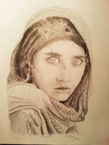 Pencil drawing of the Afghan Girl by Clark Giesbrecht