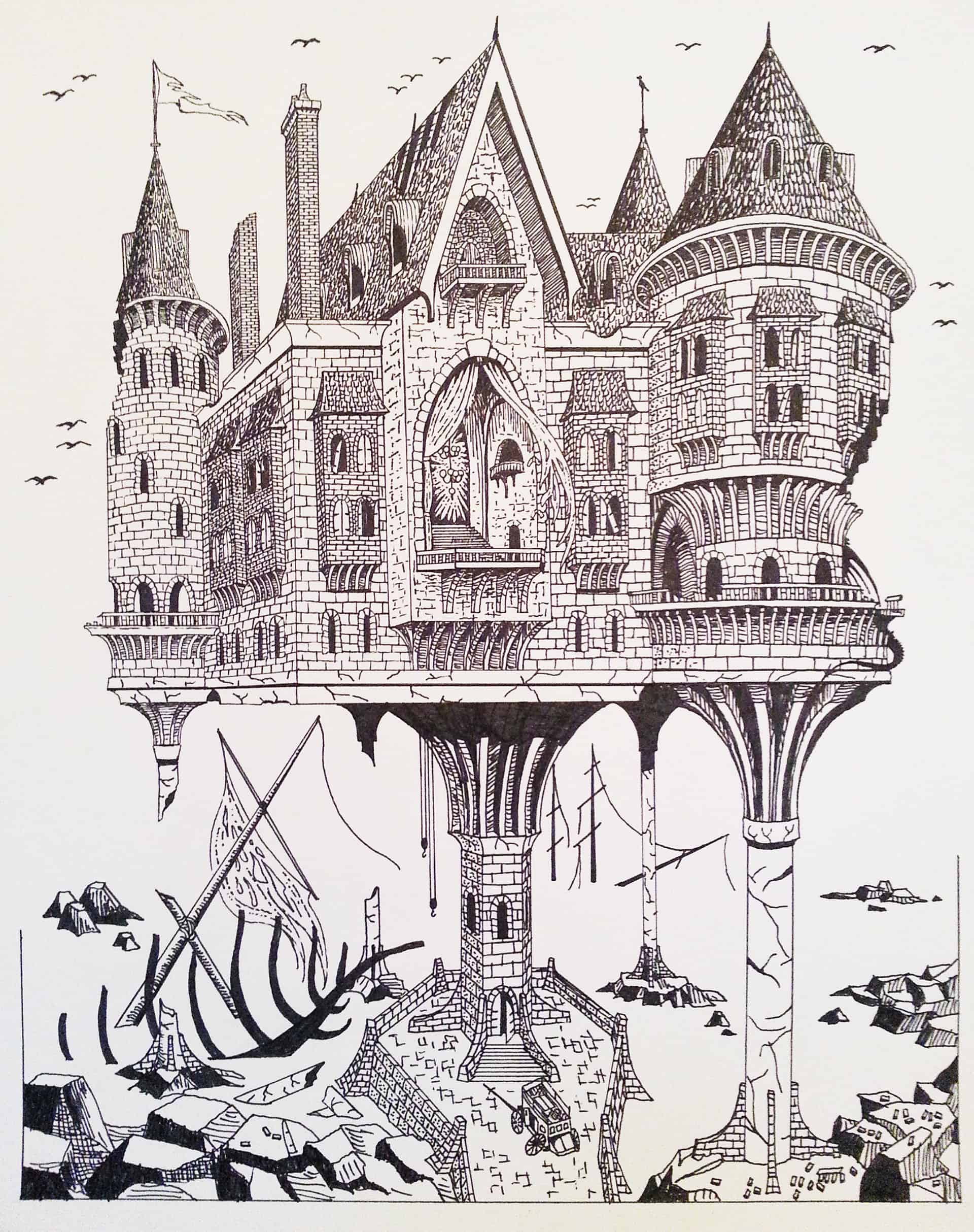 Fantasy castle pen and ink illustration by Clark Giesbrecht